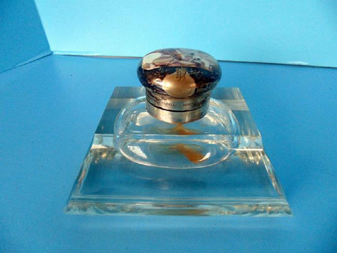 Glass Inkwell with Scenic Enameled Top - 2
