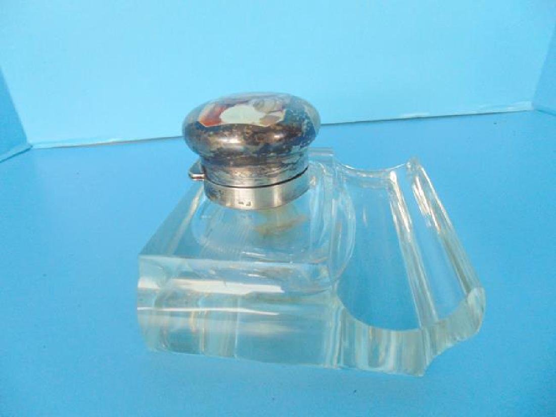 Glass Inkwell with Scenic Enameled Top - 3
