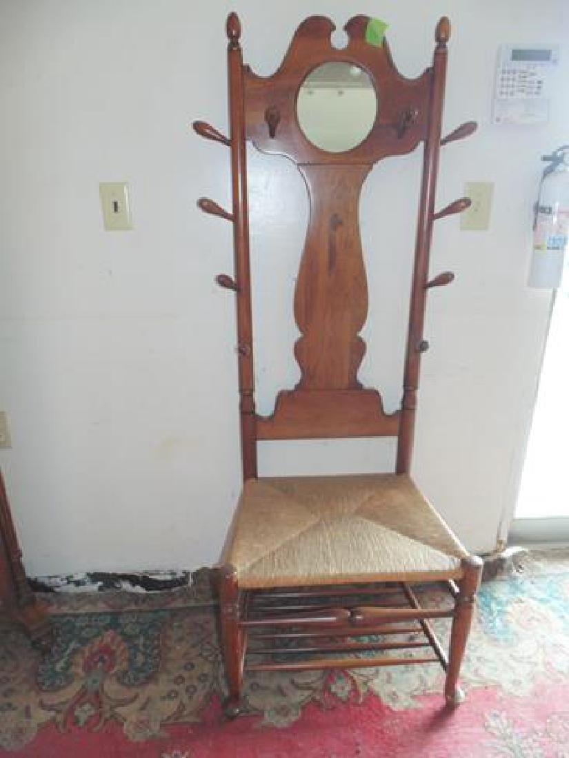 Rush Seat Coat Tree Chair