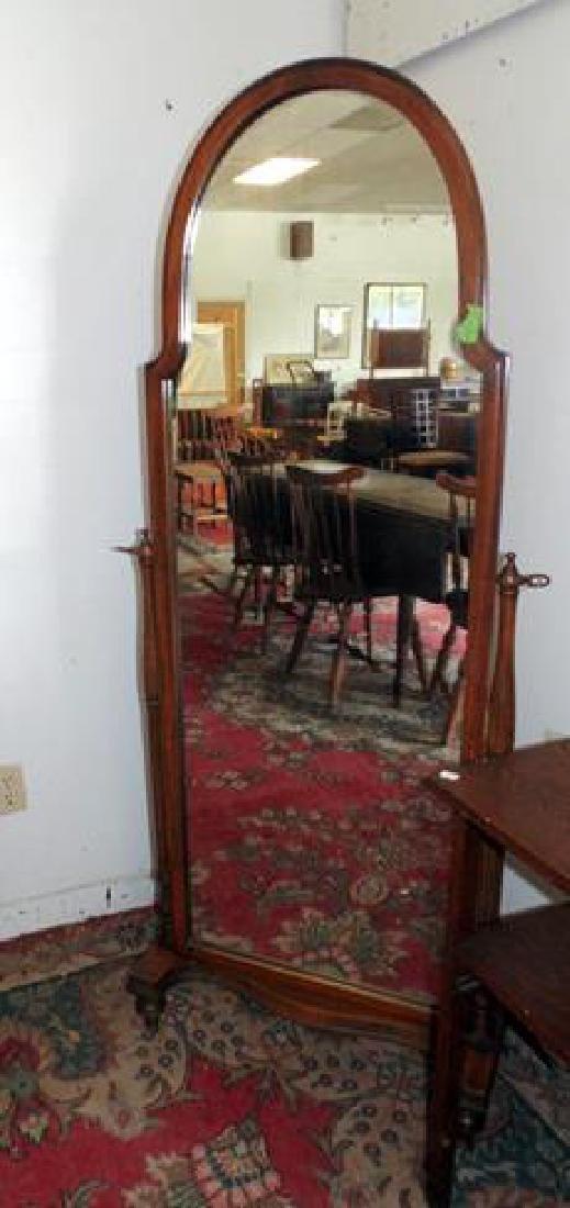 Mahogany Floor Standing Dressing Mirror