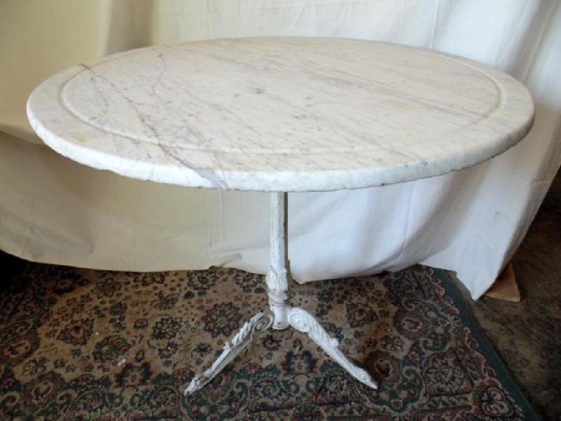 Cast Iron Marble Top Ice Cream Table
