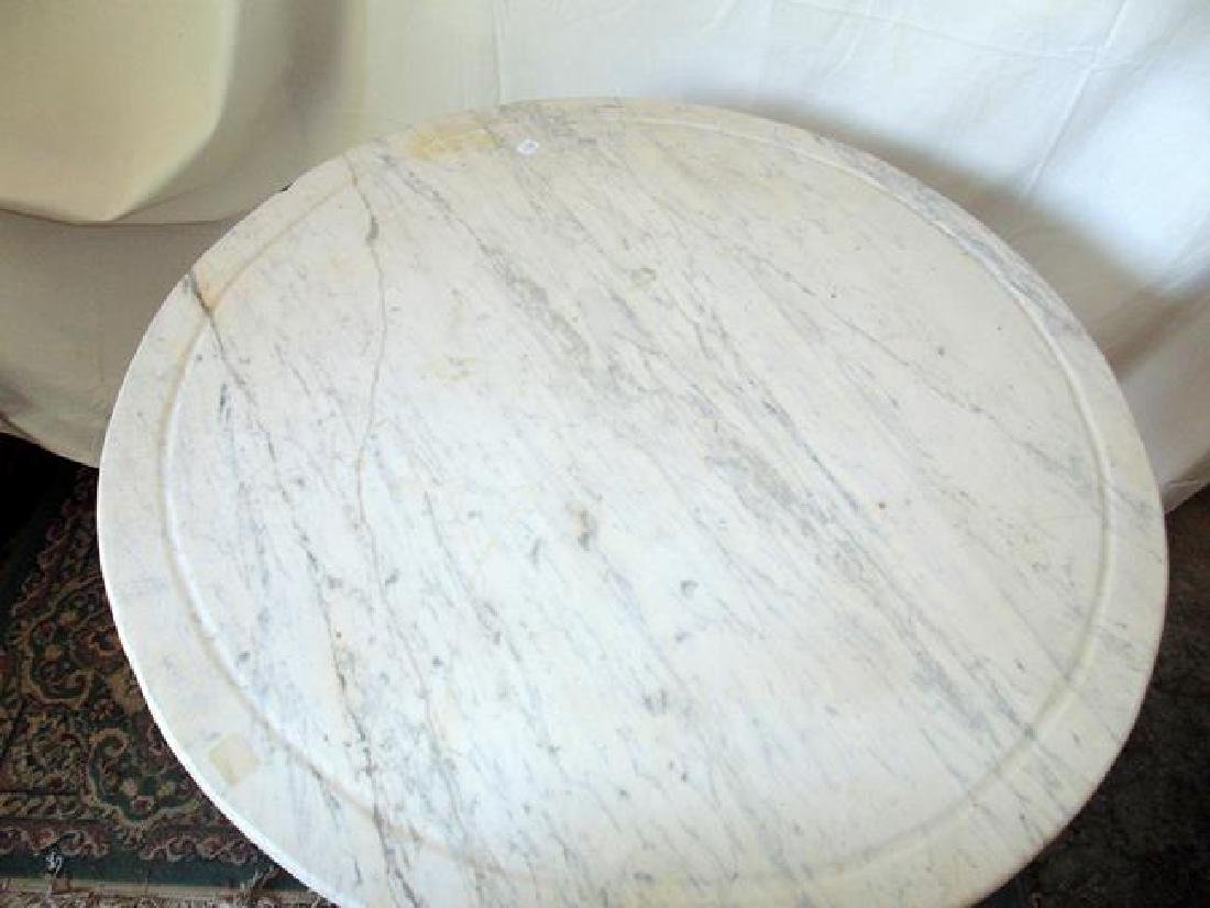 Cast Iron Marble Top Ice Cream Table - 4