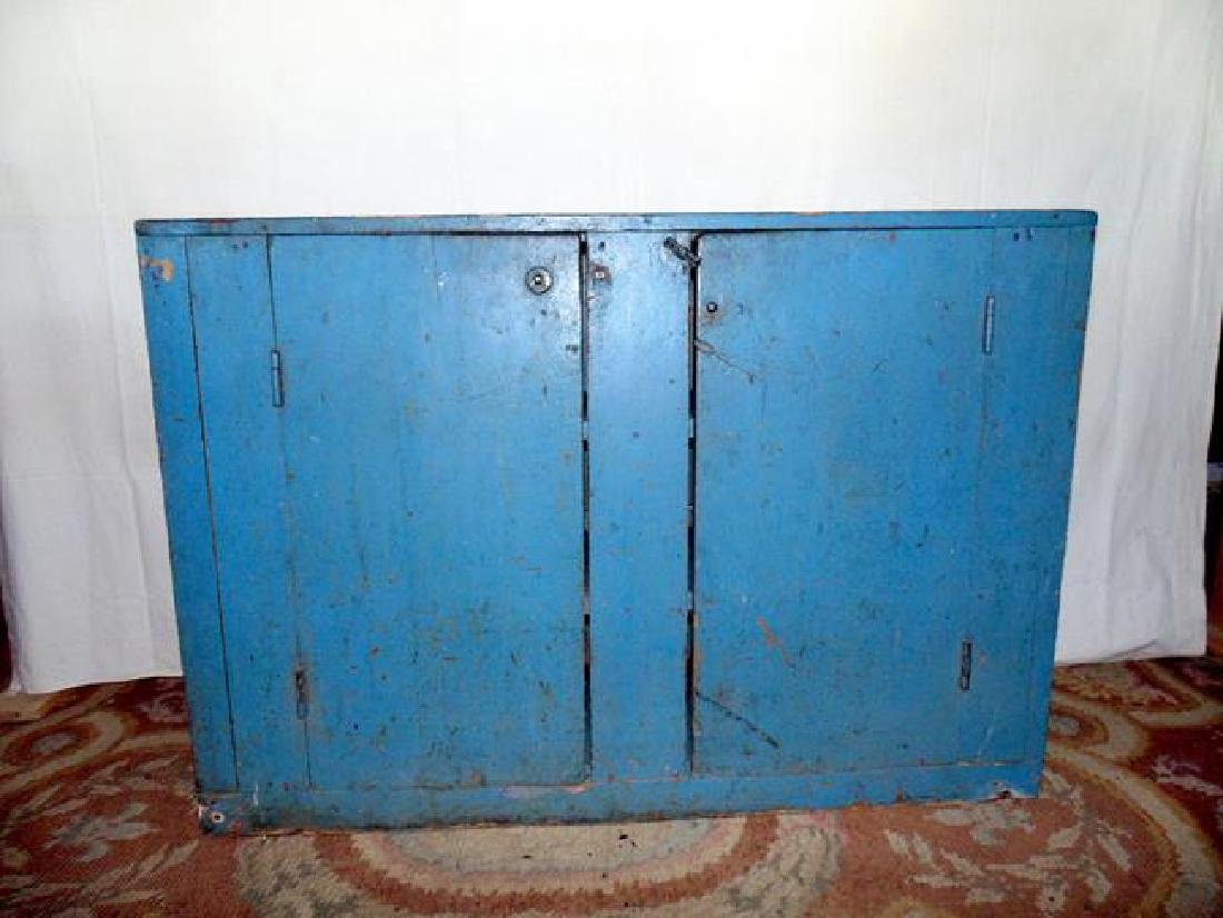 19thc 2 Door Cupboard in Old Blue Paint