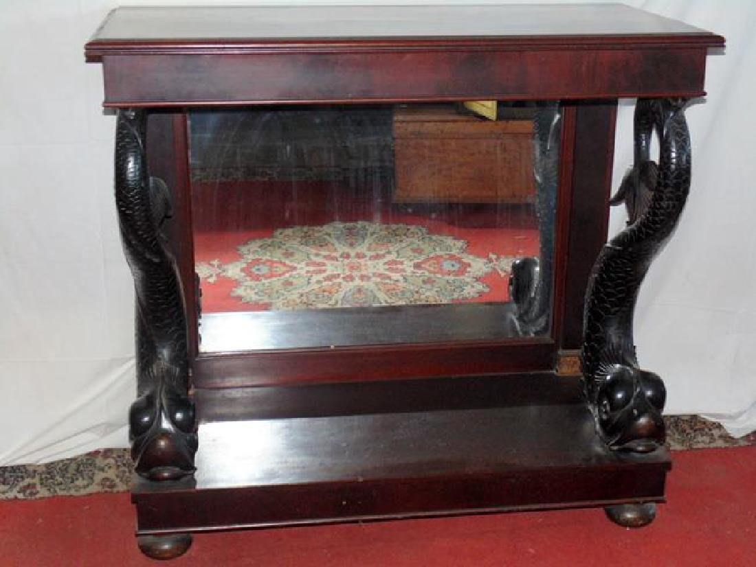 19thc Pier Console Table With Dolphins