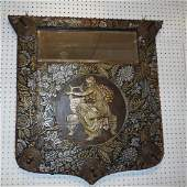 Hand Tooled Leather Mirror With Coat Hooks