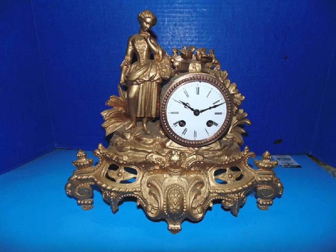 Gilt Figural Mantle Clock
