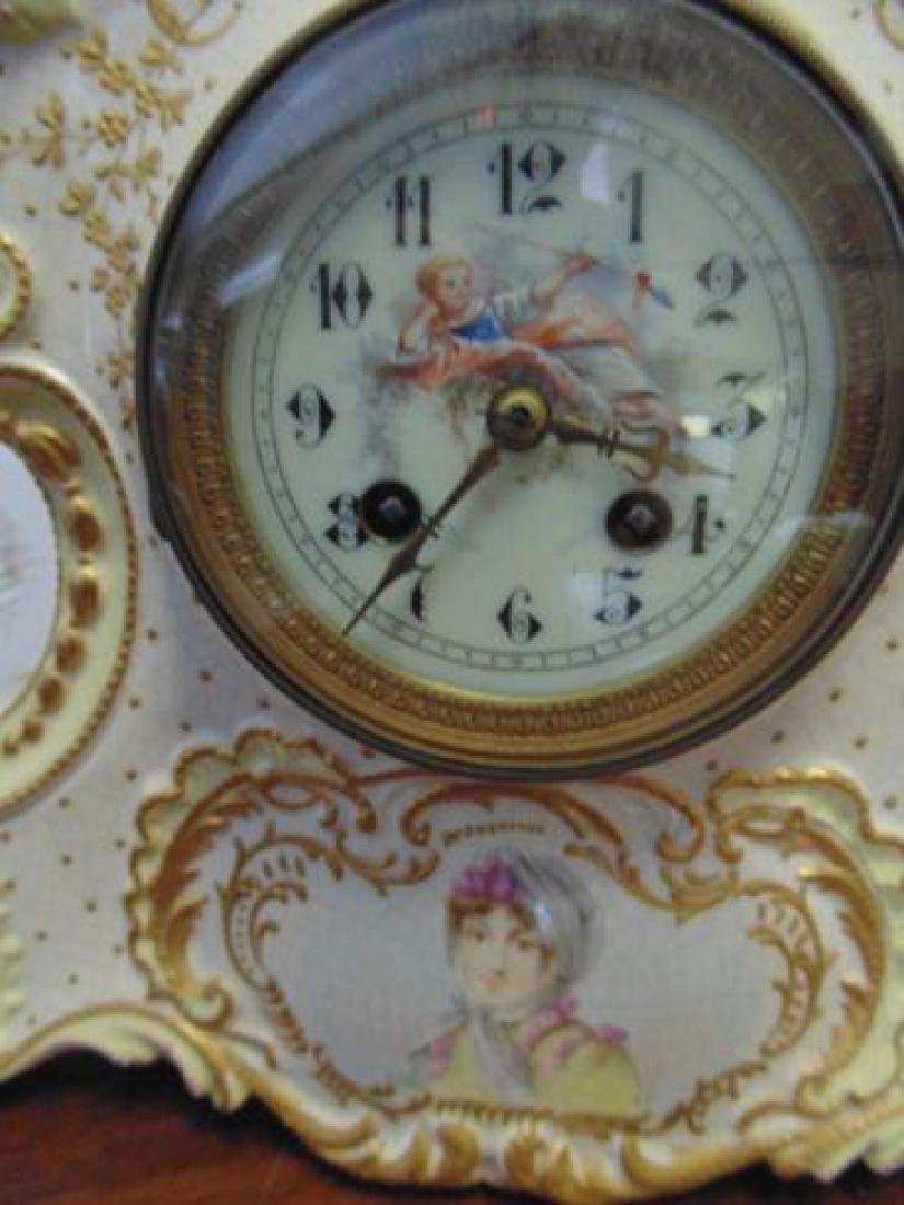 2 Ansonia Porcelain Clocks - 2