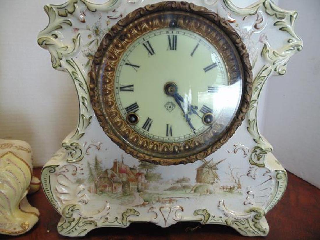 2 Ansonia Porcelain Clocks - 3
