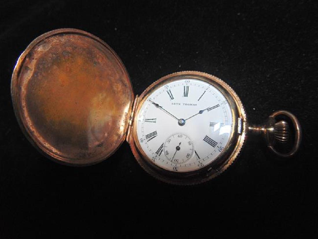 Seth Thomas Gold Pocket Watch - 4