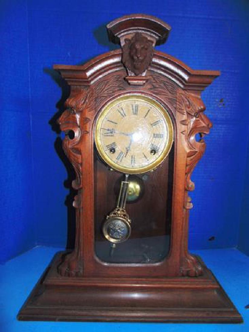 Walnut Lion Head Shelf Clock