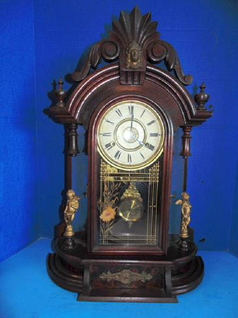 Jenny Lind Parlor Clock With Cupids & Mirror Sides