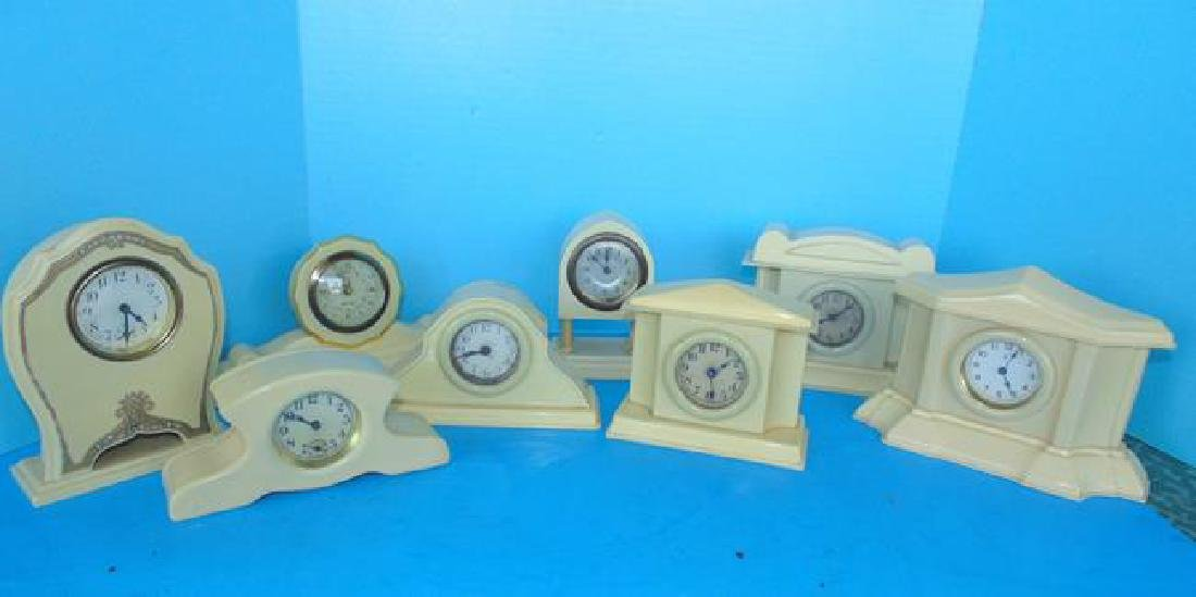 8 Celluloid Desk Clocks