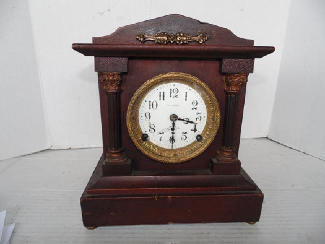 Seth Thomas Wood Mantle Clock with Columns