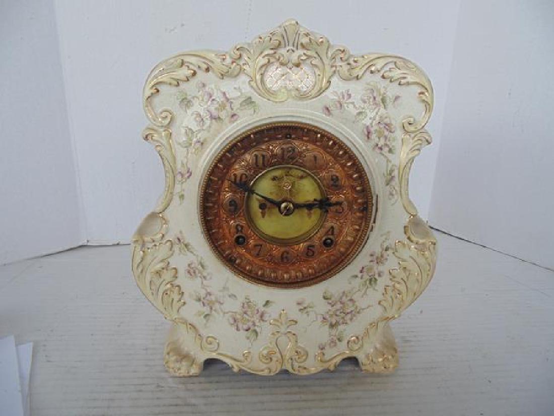 Ansonia White Porcelain Mantle Clock