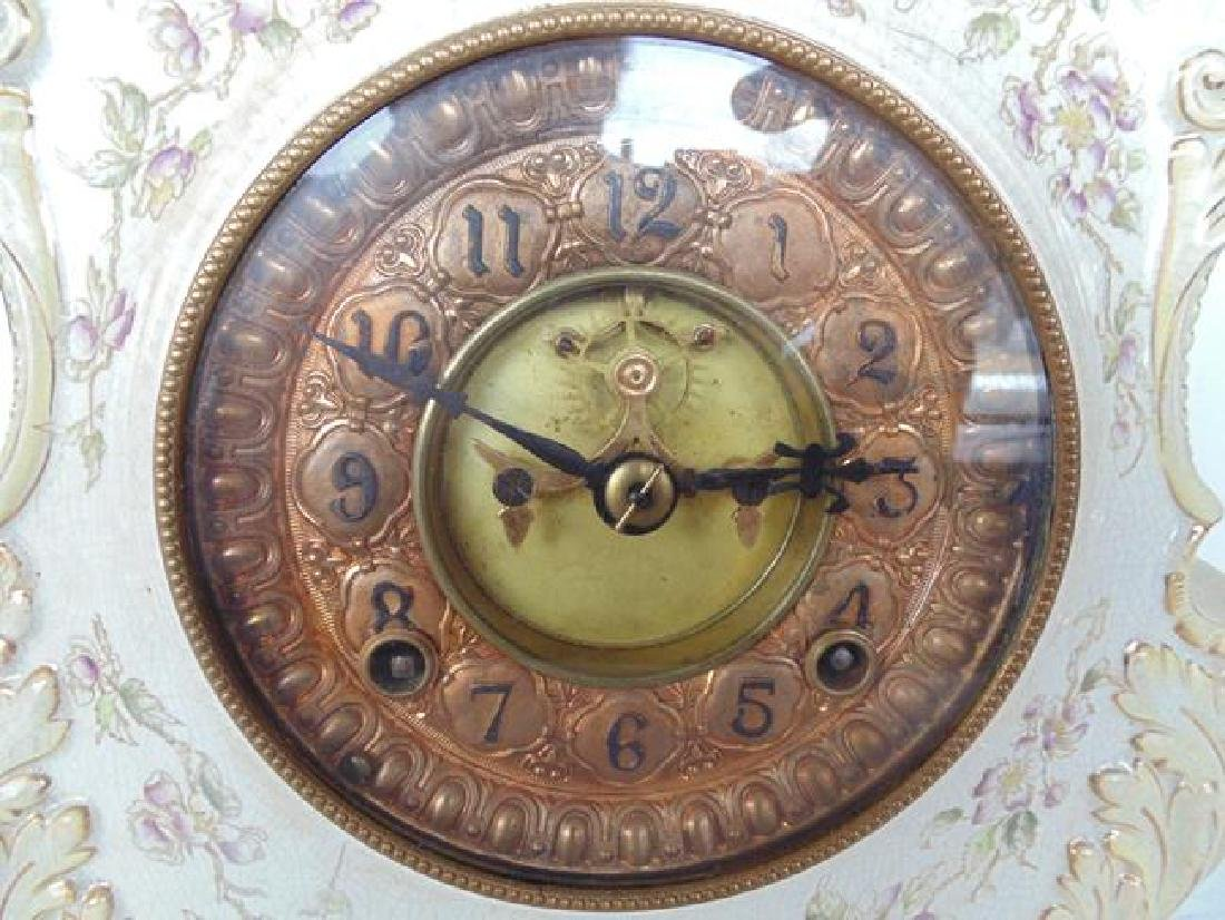Ansonia White Porcelain Mantle Clock - 2