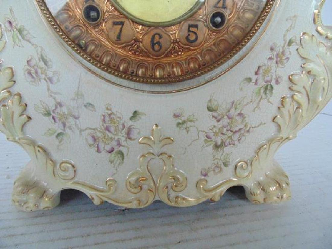 Ansonia White Porcelain Mantle Clock - 3