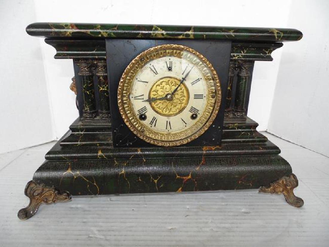 Gilbert Faux Marble Mantle Clock