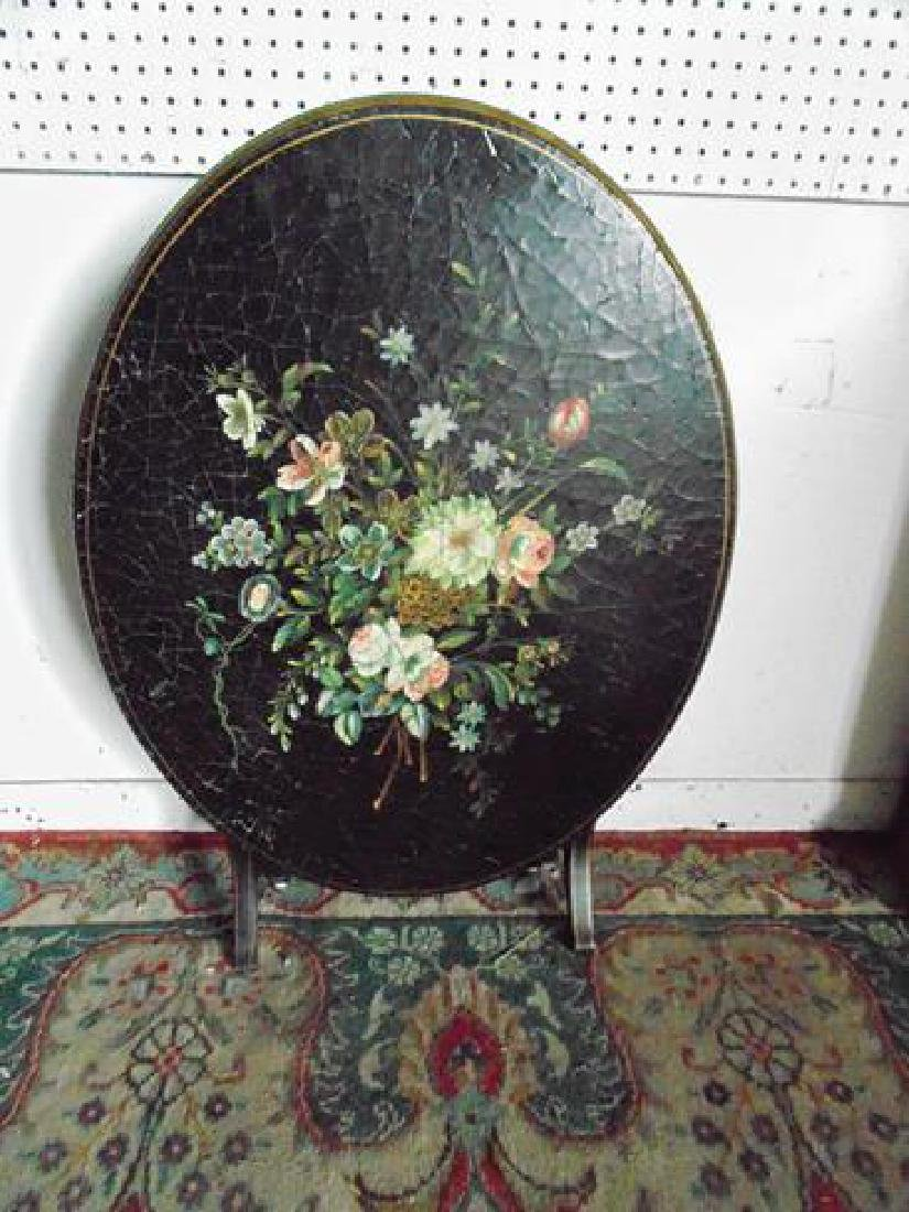 Black Lacquer Tilt Top Table With Floral Painting