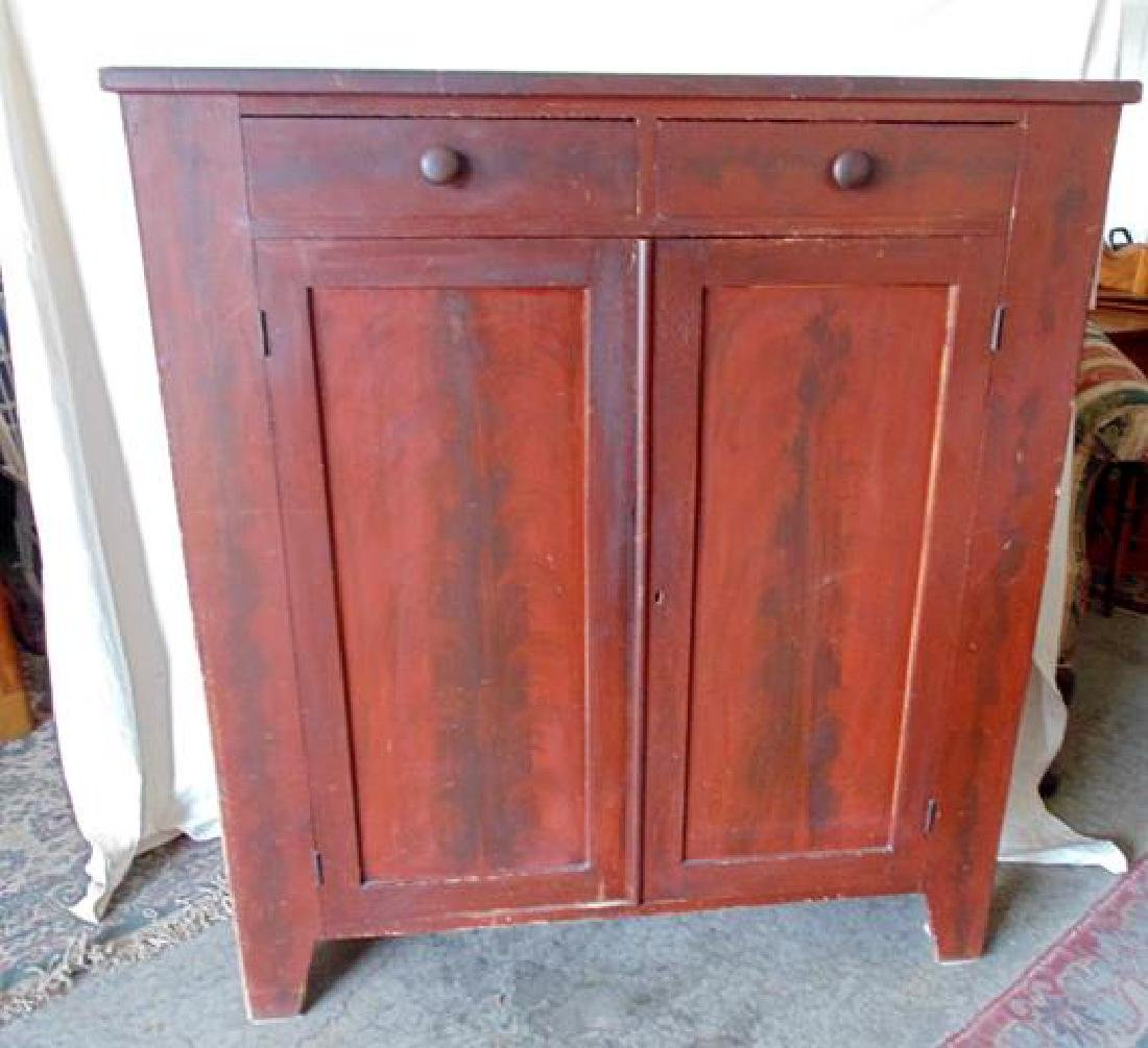 19thc Grain Painted Cupboard