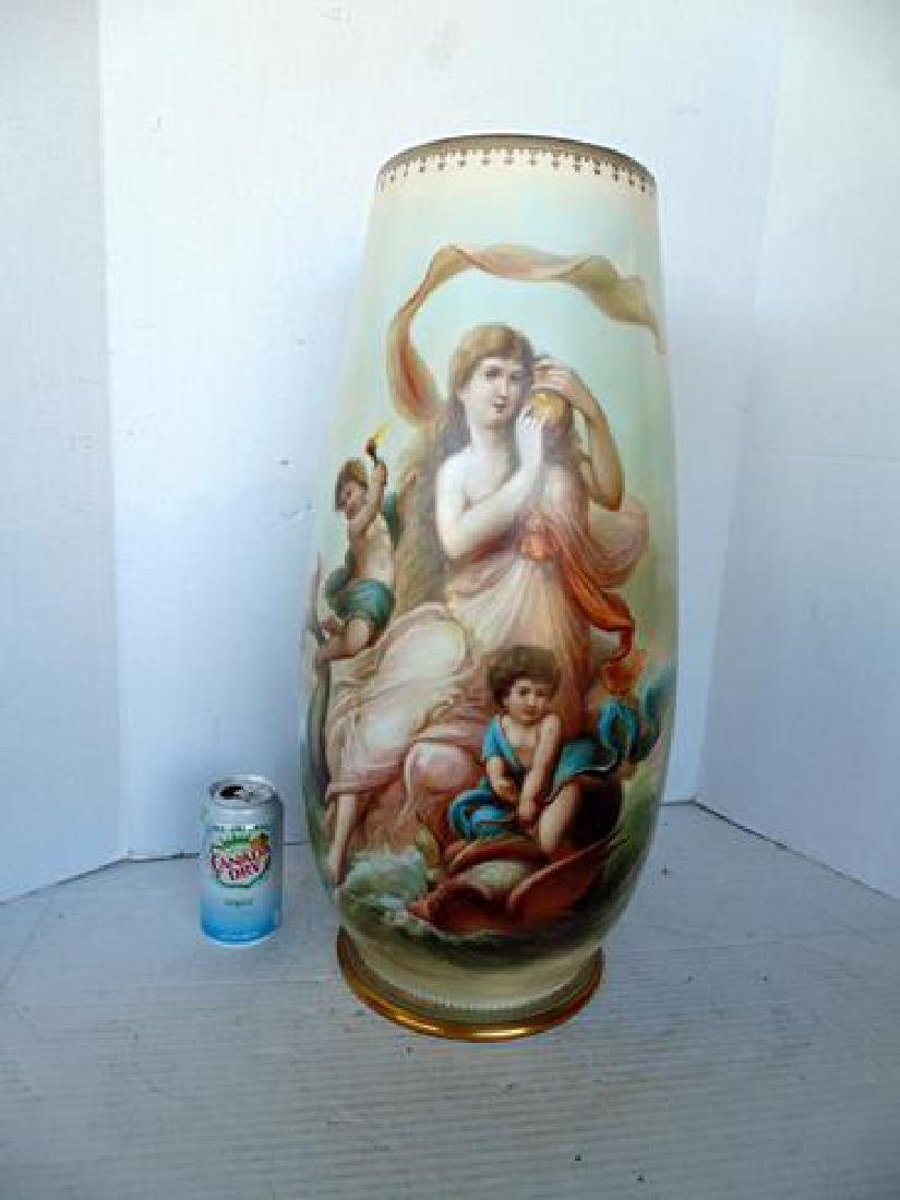 Monumental 19thc  Hand Painted Vase by Joseph Ahne
