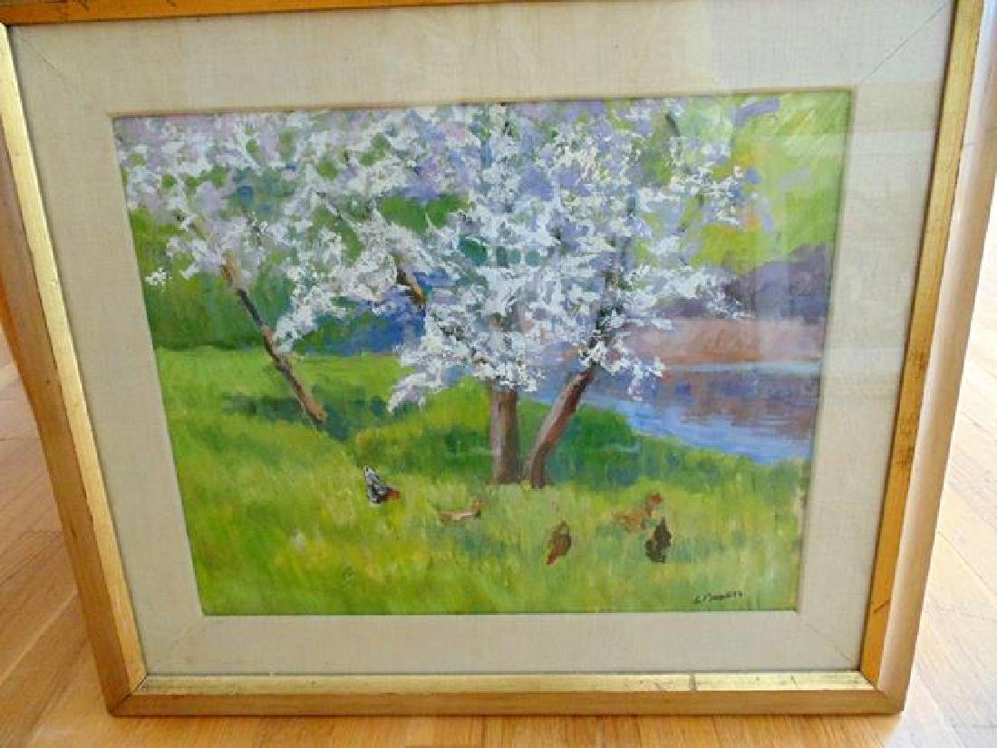 Signed Painting of Chickens Under Tree