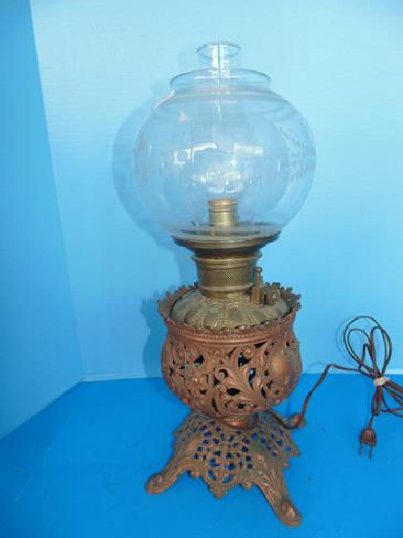 Brass Oil Lamp With Etched Shade
