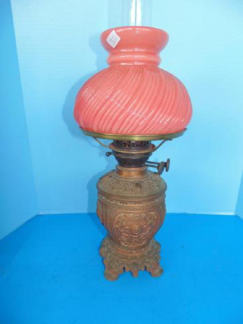 Oil Lamp with Peach Glass Shade