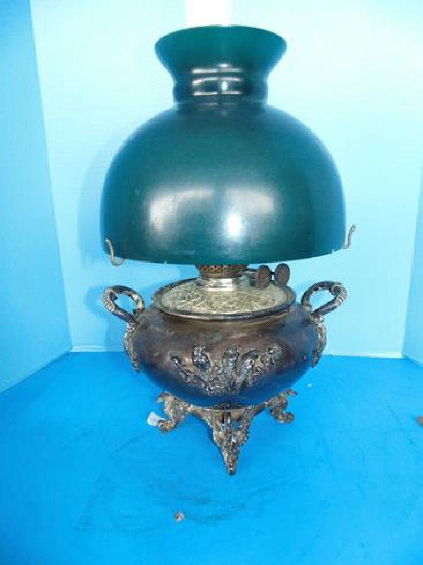 Silverplate Lamp With Birds