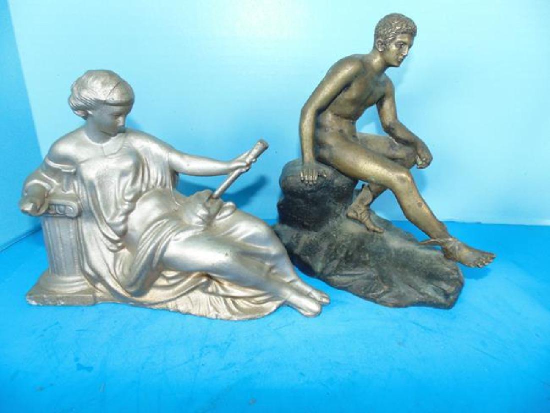 Brass Figure of Nude Male & Reclinging Woman
