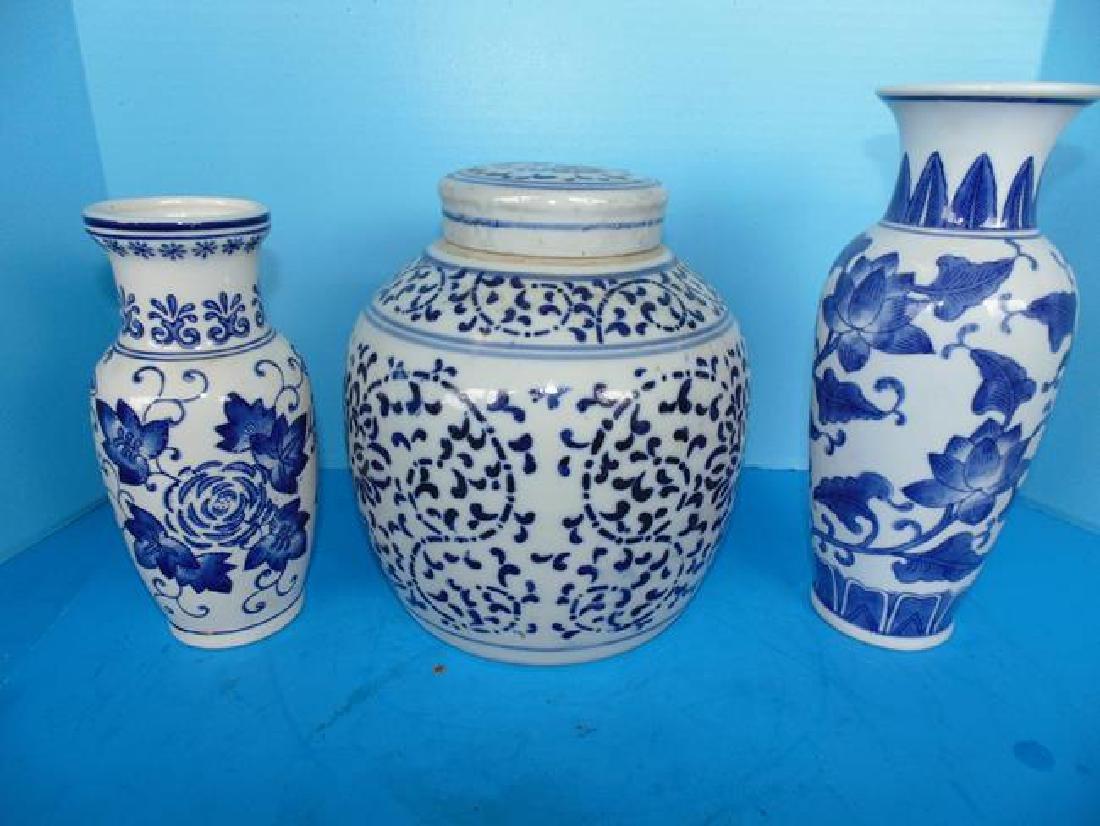 Oriental Blue & White Ginger Jar & Vases
