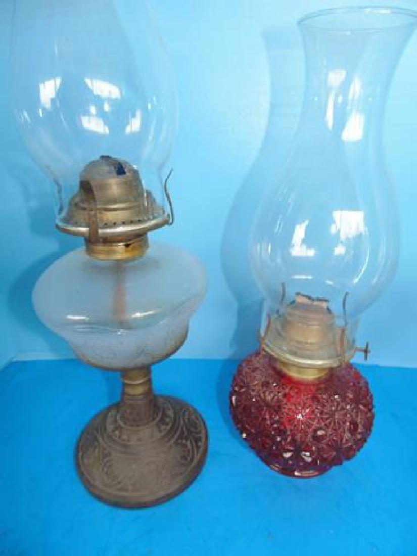 Cranberry Oil Lamp & Pattern Glass Lamp