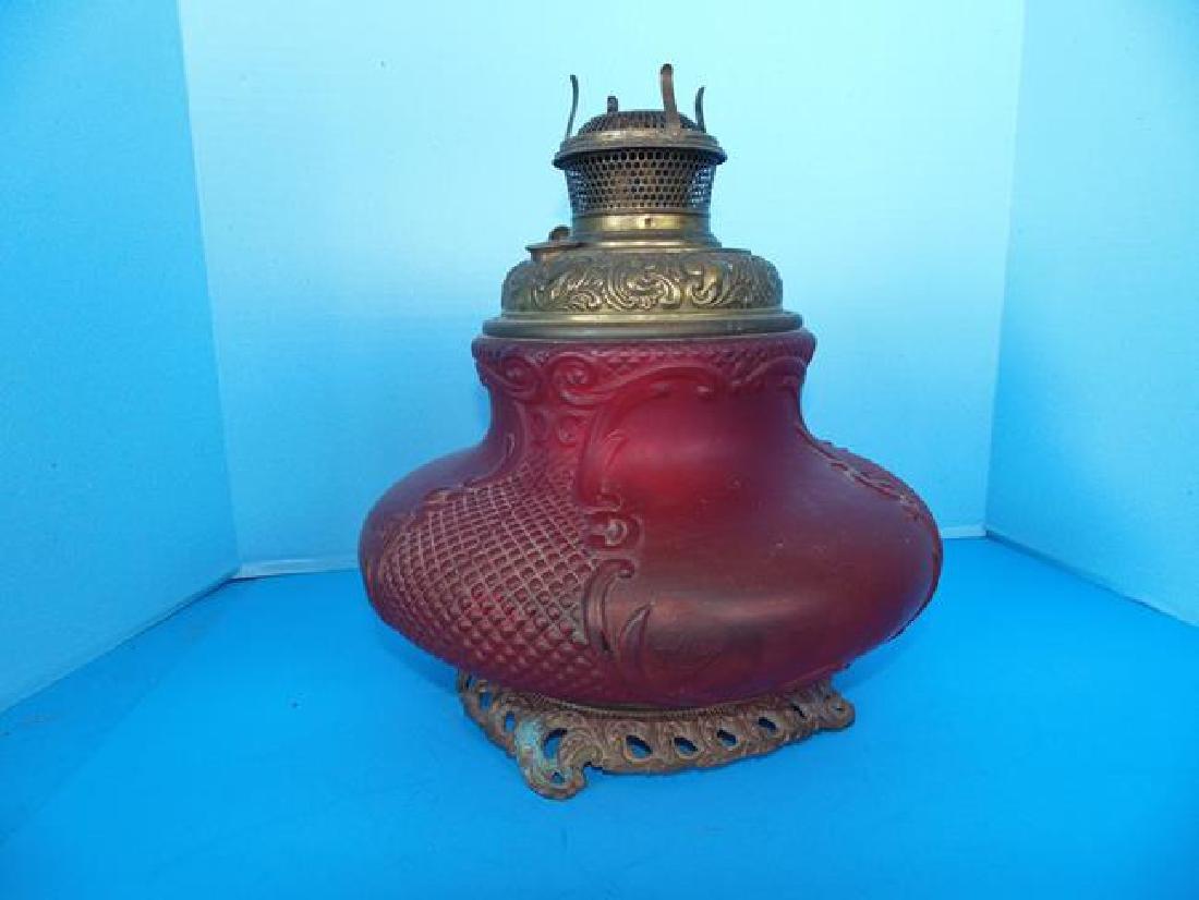 Bradley & Hubbard Cranberry lamp.