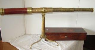 2: JL Cutts Brass Telescope in Rosewood Box Quoted From