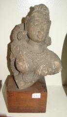 """6: Century Indian Temple Sculpture 11/3/4"""" mounted on w"""