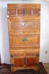 9: Oriental 4 Part Stacking Chest 69' tall.  Incised ca