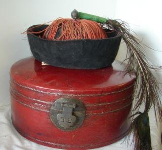 10: Qing Leather Hat Box with Velvet Hat with Peacock F