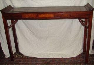 13: Huang Huali Altar Table with 2 Drawers Measures 34