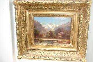 14: Oil on Board of Mountain Scene in Ornate Frame 12x
