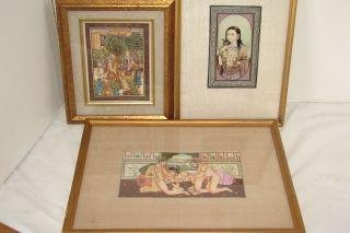 16: 3 Paintings on Ivory 2 Erotica & Indian Mogul
