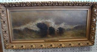 21: Oil Painting of the Sea in Gilt Frame Brass Plaque