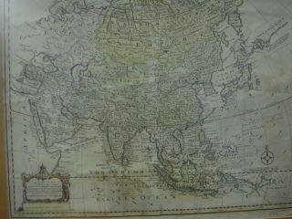23: Early Hand colored Map of Asia 1748 is Marked on lo