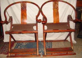 157: Pair of Huang Huali Hunting Chairs Chairs have hem