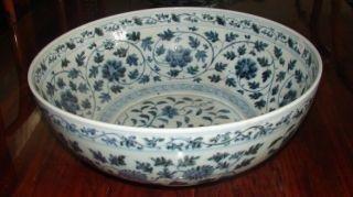 """110A: Late Ming Jing duJiang Blue & White Bowl 16"""" diam"""