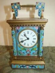 5: Cloisonne Carriage Clock Porcelain Face, Beveled Gla