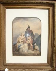 7: Pastel of 2 Mourners Gilt Frame 1019