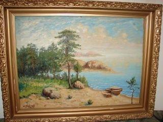 15: Island Painting on Board Signed Kobtzeff