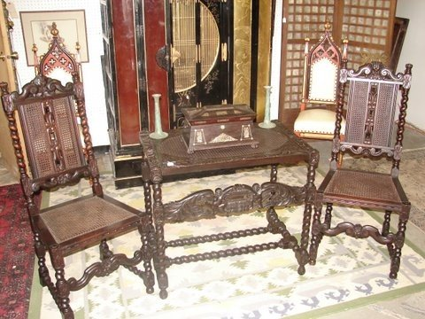 16: Library Table with Carved Figures & 2 Chairs
