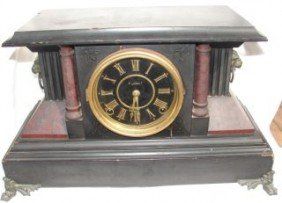 Mantle Clock With Lion Heads