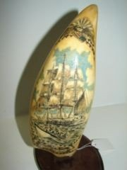 """24: Heavy 9"""" Nantucket Carving  Whale Tooth"""