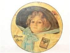 8 Satin Turkish cigarette Tin Litho Sign Round sign